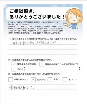 相談者の声 脳出血(武蔵村山市 M様)